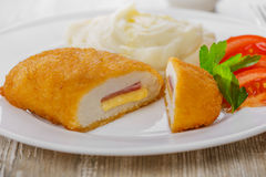 Chicken cutlet cordon bleu   Royalty Free Stock Image