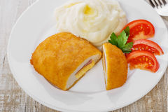 Chicken cutlet cordon bleu   Stock Images