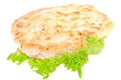 Chicken cutlet on lettuce leaves Stock Photography