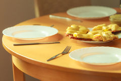 Chicken cutlet with pineapples and cheese on plate. Dinner dish meal ready to eat royalty free stock image