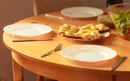 Chicken cutlet with pineapples and cheese on plate. Dinner dish meal ready to eat stock photo