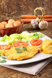 Chicken cutlet with salad Stock Images