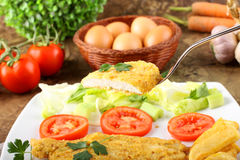 Chicken cutlet with salad Stock Image
