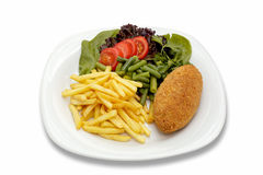 Chicken cutlet with vegetables and garnish Stock Photo