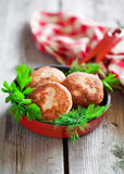 Chicken cutlets. With parsley and dill in frying pan, selective focus Royalty Free Stock Photo