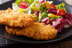 Chicken cutlets in breadcrumbs Panko and fresh salad macro on th Royalty Free Stock Photo
