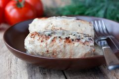 Chicken cutlets with buckwheat Stock Images