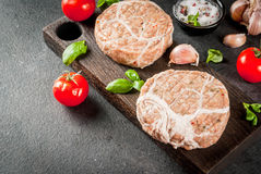 Chicken cutlets for burgers royalty free stock photography