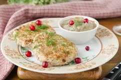 Chicken cutlets with cowberry Stock Photography