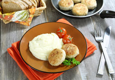 Chicken cutlets with mashed potatoes Royalty Free Stock Image