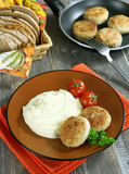 Chicken cutlets with mashed potatoes Stock Photos