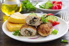 Chicken cutlets with mushrooms Stock Photo
