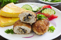 Chicken cutlets with mushrooms Royalty Free Stock Image