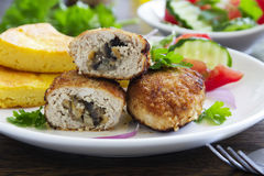 Chicken cutlets with mushrooms Royalty Free Stock Images