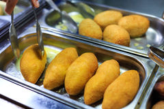 Chicken cutlets in storefront in the restaurant Stock Photo