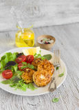 Chicken cutlets and vegetable salad Royalty Free Stock Photos