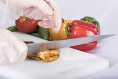 Chicken on cutting board. With vegetables Royalty Free Stock Image