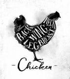 Chicken cutting scheme Royalty Free Stock Photos