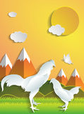 Chicken with daytime nature,zodiac royalty free illustration