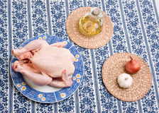 Chicken on decorative plate Royalty Free Stock Images