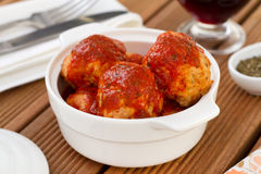 Chicken diet meatballs with sauce Stock Photography