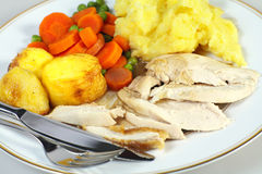 Chicken dinner with cutlery Stock Photography