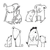 Chicken dog rabbit pig family Childish Cartoon clip art Outline for Coloring Book Royalty Free Stock Image