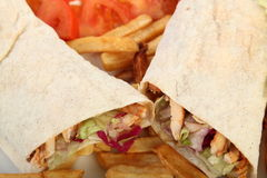 Chicken doner. Served with salad and french fries Stock Photography