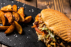 Chicken doner kebab with potatoes Stock Image
