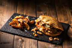 Chicken doner kebab with potatoes Royalty Free Stock Photo