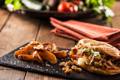 Chicken doner kebab with potatoes Stock Images