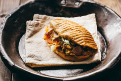 Chicken doner kebab. Tasty chicken doner kebab on a vintage dish royalty free stock photos
