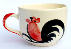 The chicken drawing ceramic glass. Stock Images