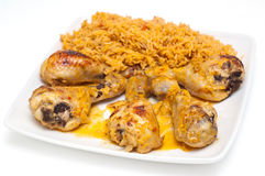 Chicken drumbsticks and mexican rice Stock Photography