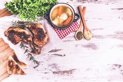 Chicken drumstic and soup Royalty Free Stock Image