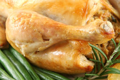 Chicken Drumstick. Roasted chicken drumstick with green beans and rosemary Stock Photography