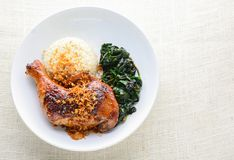 Chicken drumstick marinated with spicy chilli sauce. And herbs, served with cooked rice and spinash stock images