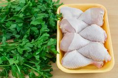 Chicken thighs on the table royalty free stock photos