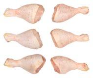 Chicken Drumsticks. Many fresh raw chicken drumsticks. Isolated on white Stock Photos