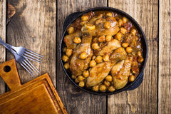Chicken drumsticks curry with chickpeas Stock Image