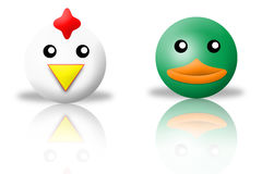 Chicken and duck animals icons Stock Photo