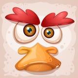 Chicken, a duck, an insane bird is a funny illustration. vector illustration
