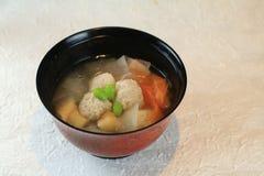 Chicken dumpling. Hot soup with chicken dumpling, Japanese radish, carrot, green soybeans Stock Photos