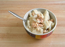 Chicken and dumpling soup in bowl with a spoon Royalty Free Stock Images
