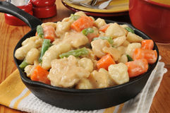 Chicken and dumplings in a cast iron skillet Royalty Free Stock Photo