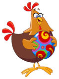 Chicken with easter egg. Cartoon chicken holding an easter egg Stock Photo