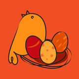 Chicken with Easter egg. Cartoon chicken with Easter egg Stock Image