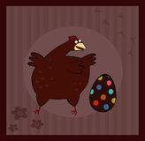 Chicken and Easter Egg on brown background. Postcard Chicken and Easter Egg on brown background Royalty Free Stock Photos