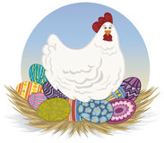 Chicken and Easter Eggs. A surprised and perplexed chicken sits on a nest of colorful Easter eggs. Vector art in Illustrator 8. Chicken, eggs, nest and Royalty Free Stock Photo