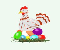 Chicken with easter eggs. Royalty Free Stock Photos